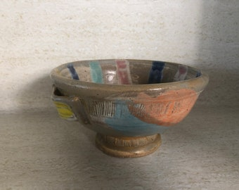 Sgraffito Modern Studio Pottery Footed Bowl
