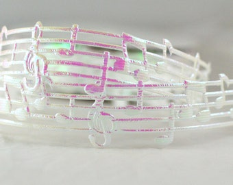 "Opaque White  Musical Music Notes Heat Melody Cut Out Ribbon 1"" WIDE Scrapbooking HairBows Parties DIY Projects OW1015"