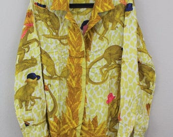 VTG Gucci 100% Silk Made In Italy Yellow Gold Collared Button Up Shirt
