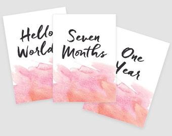 Watercolor Printable Baby Monthly Milestone Cards 5x7- Instant Download - print yourself - Baby Girl, Baby Milestones, Baby Keepsakes