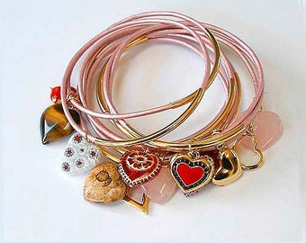 Rose Leather Bangles with Mixed Rose Hearts