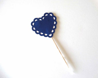Scalloped Heart Cupcake Topper, country western, red plaid toppers, BBQ party, outdoor party, graduation party, sweet 16 party, wedding