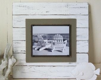 Big 8x10 Distressed White and Brown Plank Frame 21X21