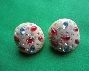 Weiss Celluloid Rhinestone Earrings