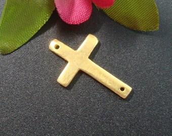 4 pcs,16x10mm,,  24K Gold Vermeil Sterling Silver Sideways Cross Connector, Handmade Findings