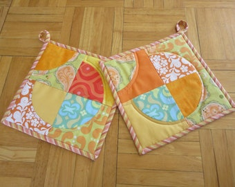 Quilted  Curves Potholders - set of two