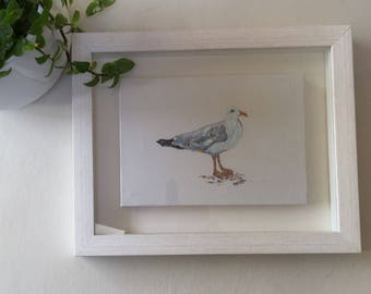 Keeping Watch. Original Acrylic Painting. Seagull. Seaside. Bird.