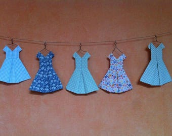 Medley or herd of dresses origami pendant