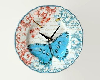 """9"""" Colorful Butterfly Wall Clock, French Clock, Dragonfly Clock, SILENT Ceramic Plate Clock, Unique Wall Decor, Kitchen Clock  2010"""