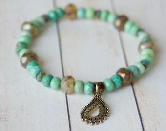 Amazonite Semi-Precious Stretch Bracelet with  Gold-Colored Boho Charm Jewelry