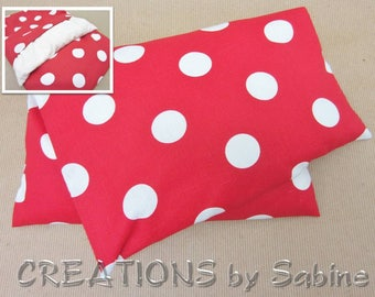 Corn Heating Pack, Corn Pillow with washable cover Microwave Therapy Pad red white polka dots cute circles gift idea READY TO SHIP (523)