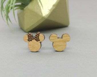 Disney Mickey and Minnie Mouse Post Earrings - Laser Engraved Wood Earrings - Hypoallergenic Titanium Post Earring Pair