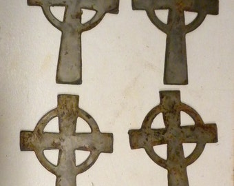 Lot of 4 Rough and Rusty Celtic Crosses 4 inch Metal Art Ornament Stencil Wind Chime Craft Sign