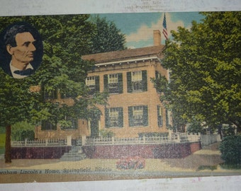 Home of Abraham Lincoln, Springfield, IL Vintage Linen View UNUSED