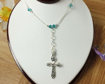 SALE Cross Necklace, Silver Cross, Blue AB