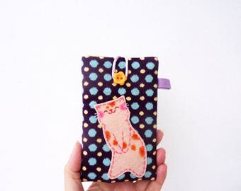 iPhone 4 case, iPhone 4 sleeve, cat iPhone cover, cell phone case, mobile case, cute phone case, cat lover gift, phone wallet, iPhone case