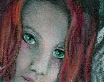 original art  aceo drawing redhead angel wings woman