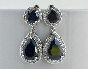 Black Crystal Earrings Black Bridal Cubic Zirconia Earrings Black Teardrop Earrings Black Halo Earrings Black Crystal Bridesmaid Jewelry