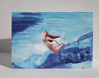 Surf art. 'Beneath the waves' greetings card.