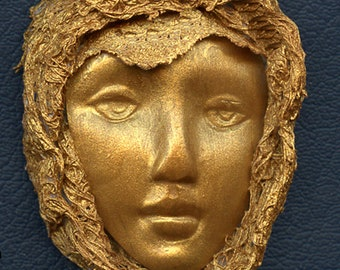 Polymer Clay One of a Kind Faux Gold  Face with Fabric  Cab FFG 1