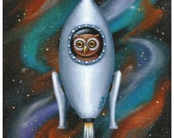 Owl Art, Rocketship Owl - 8 X 10 Fine Art Print of an Owl Flying Through Space in a Rocket