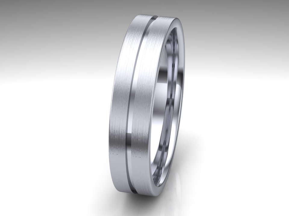 Unique Mens Wedding Ring 14K White Gold Mens Wedding Ring Modern