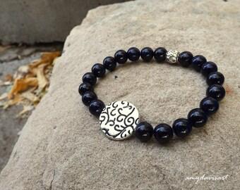 Dark Purple Bracelet, Stretch Bracelet, Purple Beaded Bracelet,  Mother's Day Gift, Purple Jewelry, Stacking Bracelet, Gift for Her