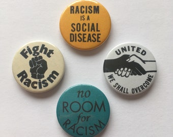 Set of 4 Anti-Racist Antifa Equality Black Rights Vintage Style Pin Badges