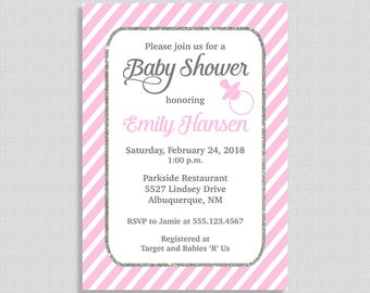 Pink Baby Shower Invitation, Pink Stripe Shower Invite, Baby Girl Shower, DIY PRINTABLE