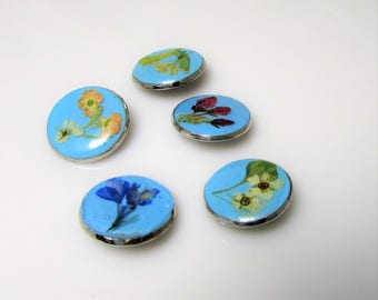 5 Real Flower Buttons, Pressed Flowers On Resin, Shank Buttons (3896)