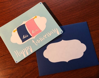 Matching Towels Anniversary Card - His & Hers