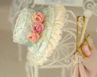 shabby chic dollhouse miniature hat straw