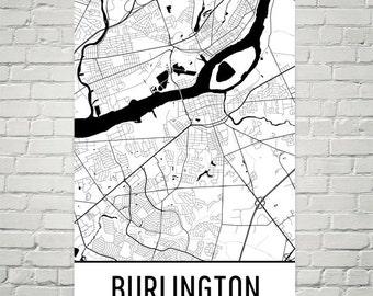 Burlington Map Art Print, Burlington NJ Art Poster, Burlington Wall Art, Burlington Print, Map of Burlington, Birthday, Gift, Modern, Art