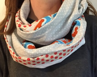 Infinity Scarf - flannel lined  - geometric red blue gray