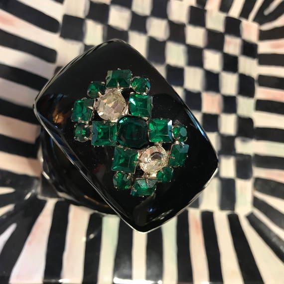 Diamonds and Rust Original Design Vintage Bracelet Emerald Czech stones