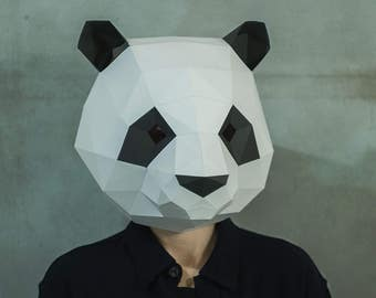 Make Panda Mask,DIY 3D mask,PDF,Pattern mask,Polygon Paper Mask,Template,Printable Head,Low Poly,Papercraft Face Mask,Costume,Party,Gift,Art