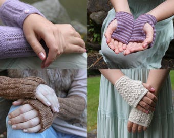 KNITTING PATTERN BUNDLE, Wrist Warmers, Knitted Gloves, Fingerless Gloves, Knit, Cuffs, Lace Gloves, Stripes, Sleeves, wristlet glove, hands