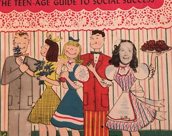 Betty Betz Party Book Teenagers Social New Year's 1950s  Pink Vintage Graphics