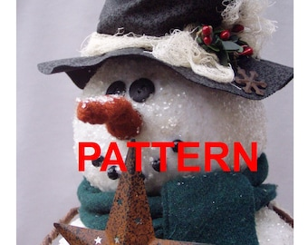 PATTERN Primitive Snowman Tree Topper Tutorial Instant Digital Download PDF epattern by Happy Valley Primitives
