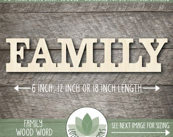 Family Wood Word Sign, Laser Cut Uppercase Letter Wooden Words, Wall Gallery Word Art, Home Decor Family Sign, Wood Words, Blank Wood Shapes