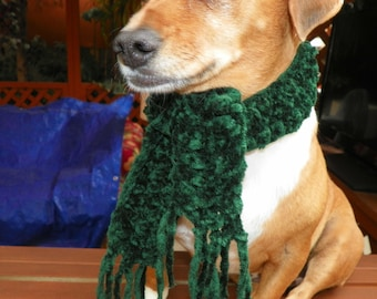 Green Dog Scarf Chenille Dog or Cat Scarf Soft  Christmas Dog Scarf  Sizes XXSmall-XXXXLarge