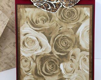 Handmade anniversary card, hearts and roses card