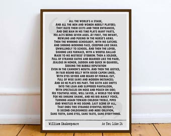 William Shakespeare quote - All the Worlds a stage - wall art gift inspiration - Happiness... - digital download gift romance love