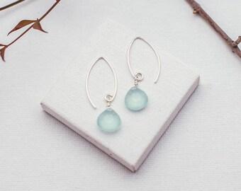 Sterling Silver Gemstone Earrings, Simple Sterling Silver Earrings with Gemstone, Silver Dangle Gemstone Earrings, Silver Gemstone Earrings
