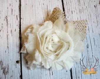 Rustic Wedding Hair Clip - Burlap Lace & Chiffon - Alligator Clip - Wedding  Ivory cream