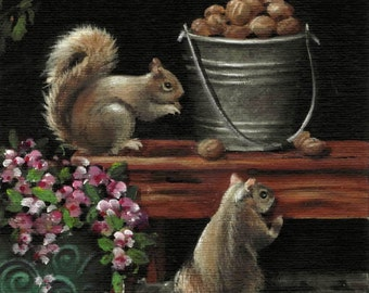 "5 X 7        ""Back Porch Vistors""     Small Format Original Acrylic Painting"