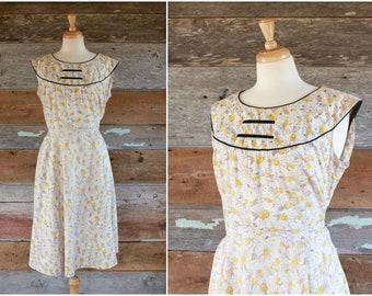 """des années 1950 robe / robe imprimé en coton des années 50 / imprimé floral Marguerite robe années 1950 robe d'été / taille xl buste 42"""" taille 36"""""""