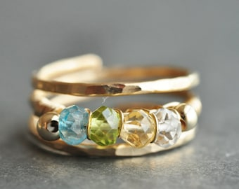 Grandmother ring / Mothers Ring / FAMILY BIRTHSTONE ring / sisters ring - 14K gold filled, genuine gemstones - 3, 4 or 5 stones
