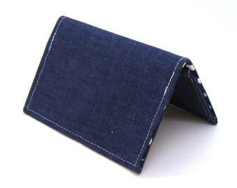 Mini Wallet / Card Holder / Business Card Holder / Card Case / Gift Card Holder/ Small Wallet - Indigo Blue Twill