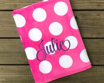 Monogrammed Beach Towel-Personalized Towel-Girls Monogram Beach Towel-Pool Towel-Pink Polka Dot Towel